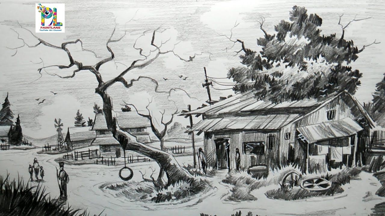 How to draw easy and simple village scenery with pencil step by step s