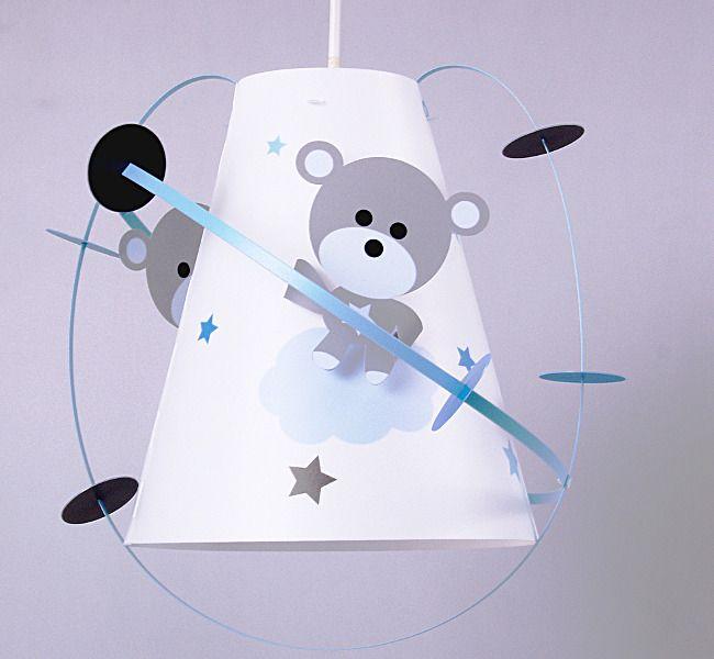 Luminaire suspension chambre bébé avec deux oursons gris et bleu ...