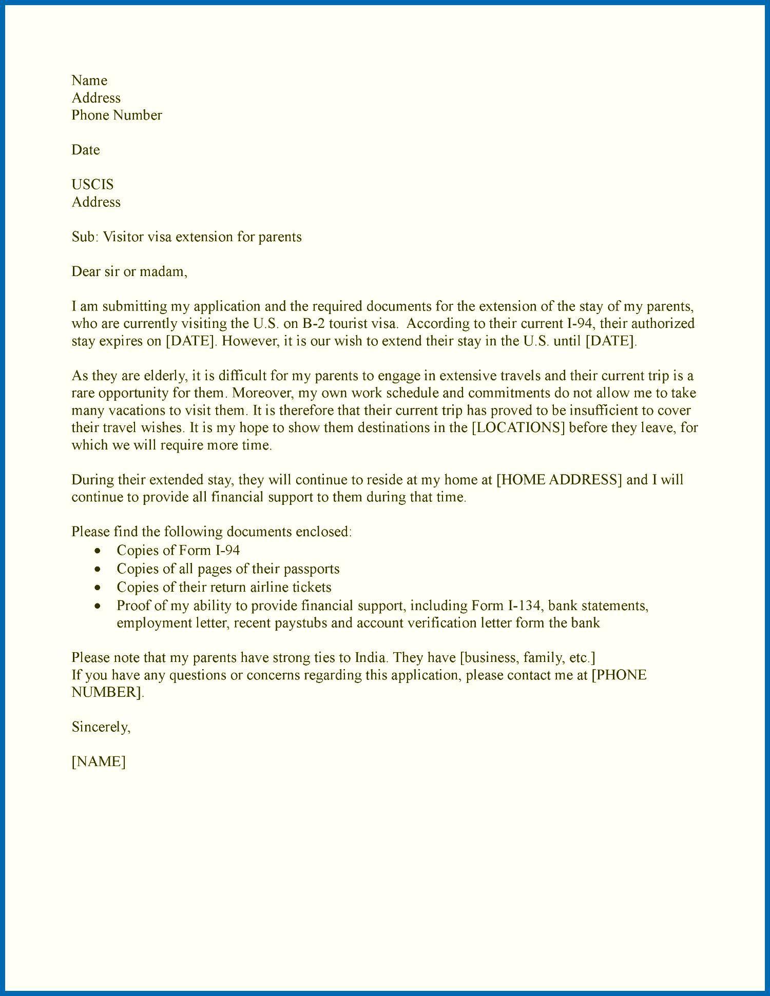 50 B2 Visa Extension Sample Letter Wj5b di 2020