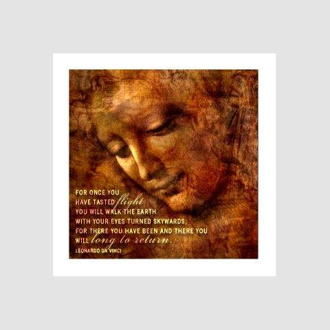 Mini Once You Have Tasted Flight Leonardo Da Vinci Quote Art