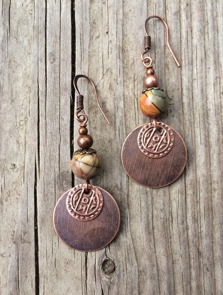 4fa40d044 Copper earrings with small disc, ethnic stamped coin and red creek jasper.  Approx 2