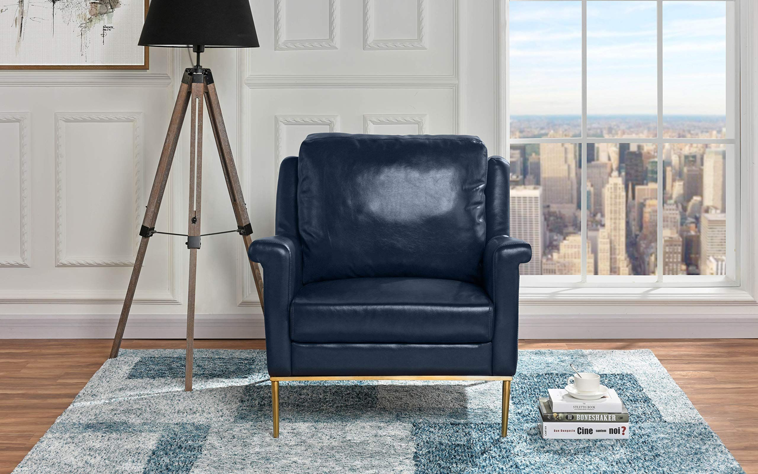 Modern Living Room Leather Armchair Accent Chair Blue To Watch