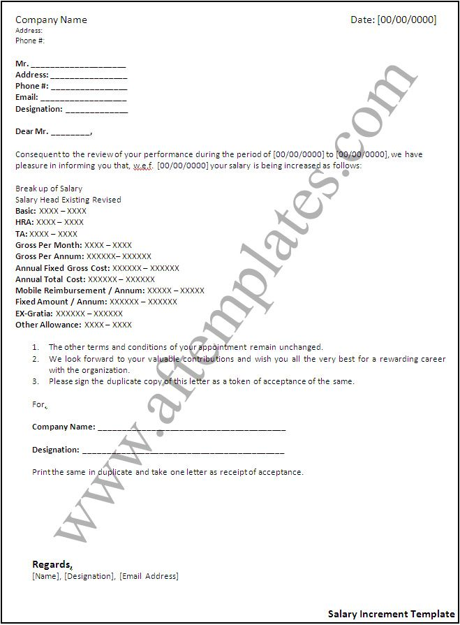 Salary Increase Templates 10+ Free Printable Excel, Word  PDF - sample letter of appointment