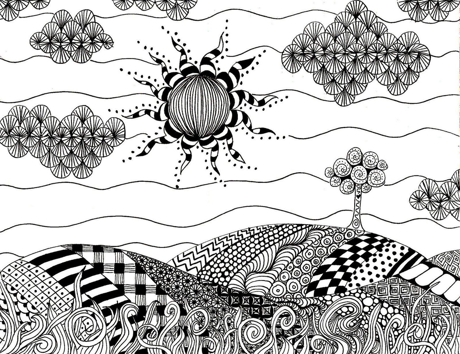 zentangles watercolors | Zentangle Landscape Art Lesson