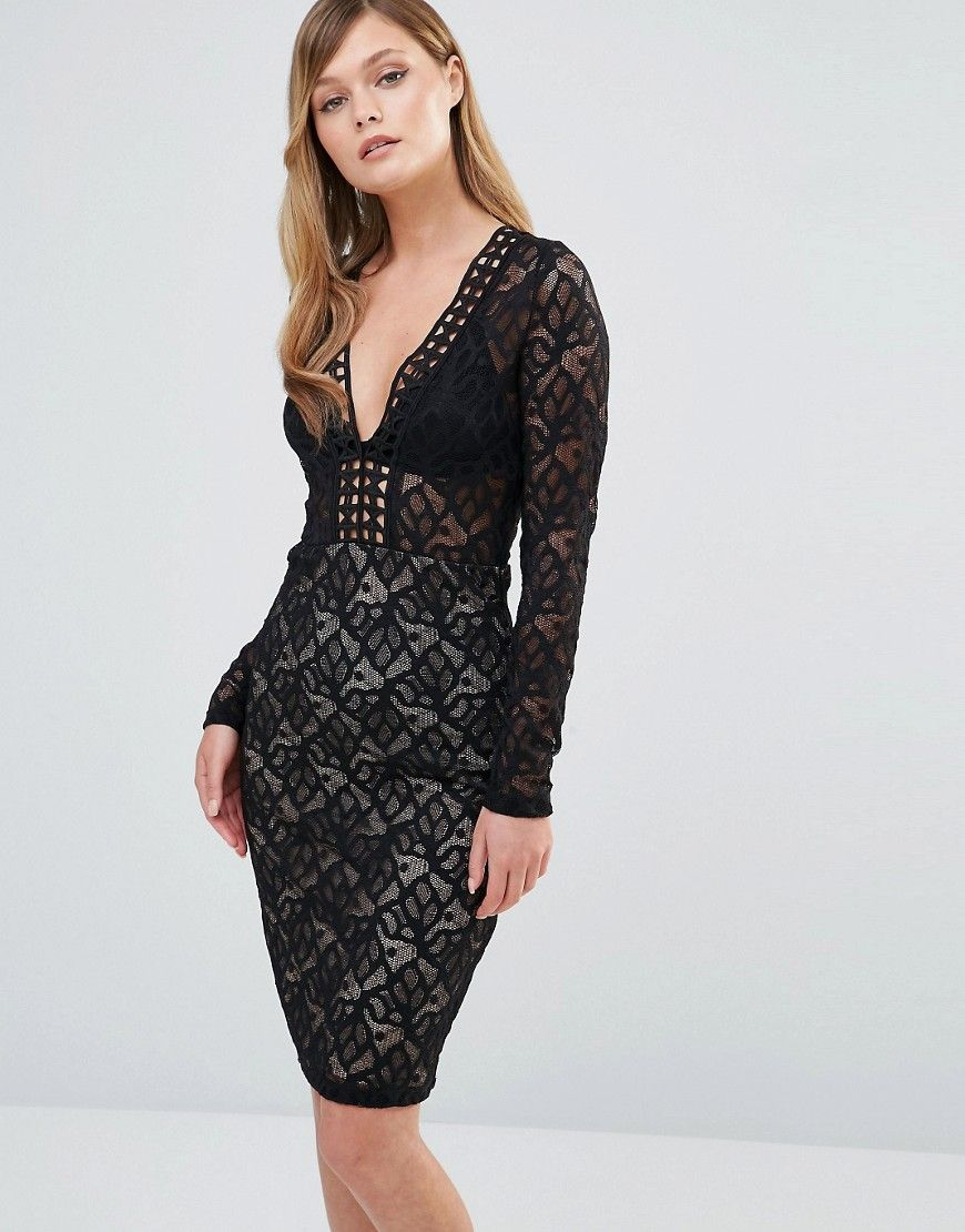 Dark+Pink+V+Neck+Midi+Lace+Dress+with+Long+Sleeves | Fashion <3 ...