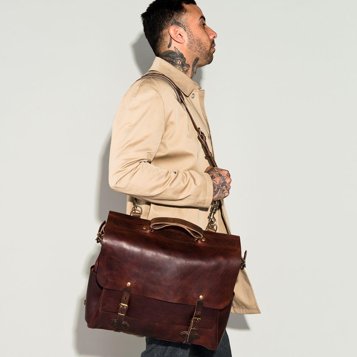 in France business Bag Made de 48H bag Chauffe Irving Irving Bleu Sac 48H Postman 74WOC76