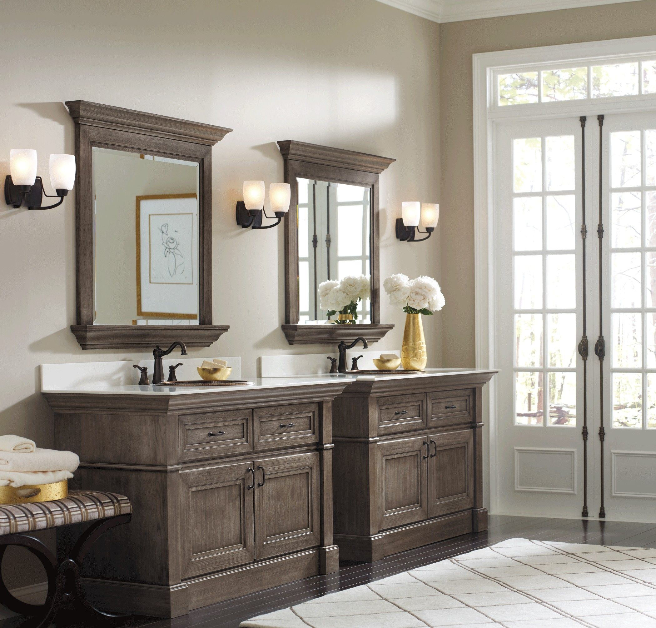 Bathroom Furniture Distressed Walnut Wood Vanity Cabinet With Doble Bronze Undermount Sink Combined Wit Gray Stained Cabinets Staining Cabinets Omega Cabinetry