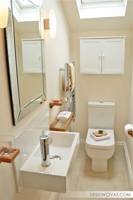 21 Big Ideas For Tiny Bathrooms Bathroom Layout Bathroom Under Stairs Small Toilet Room