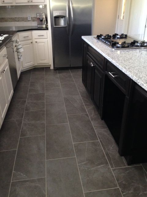 Slate look kitchen tile floor | Kitchen flooring trends ...