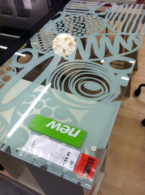 Ikea vika glasholm glass tabletop with applique. http: www.ikea.com