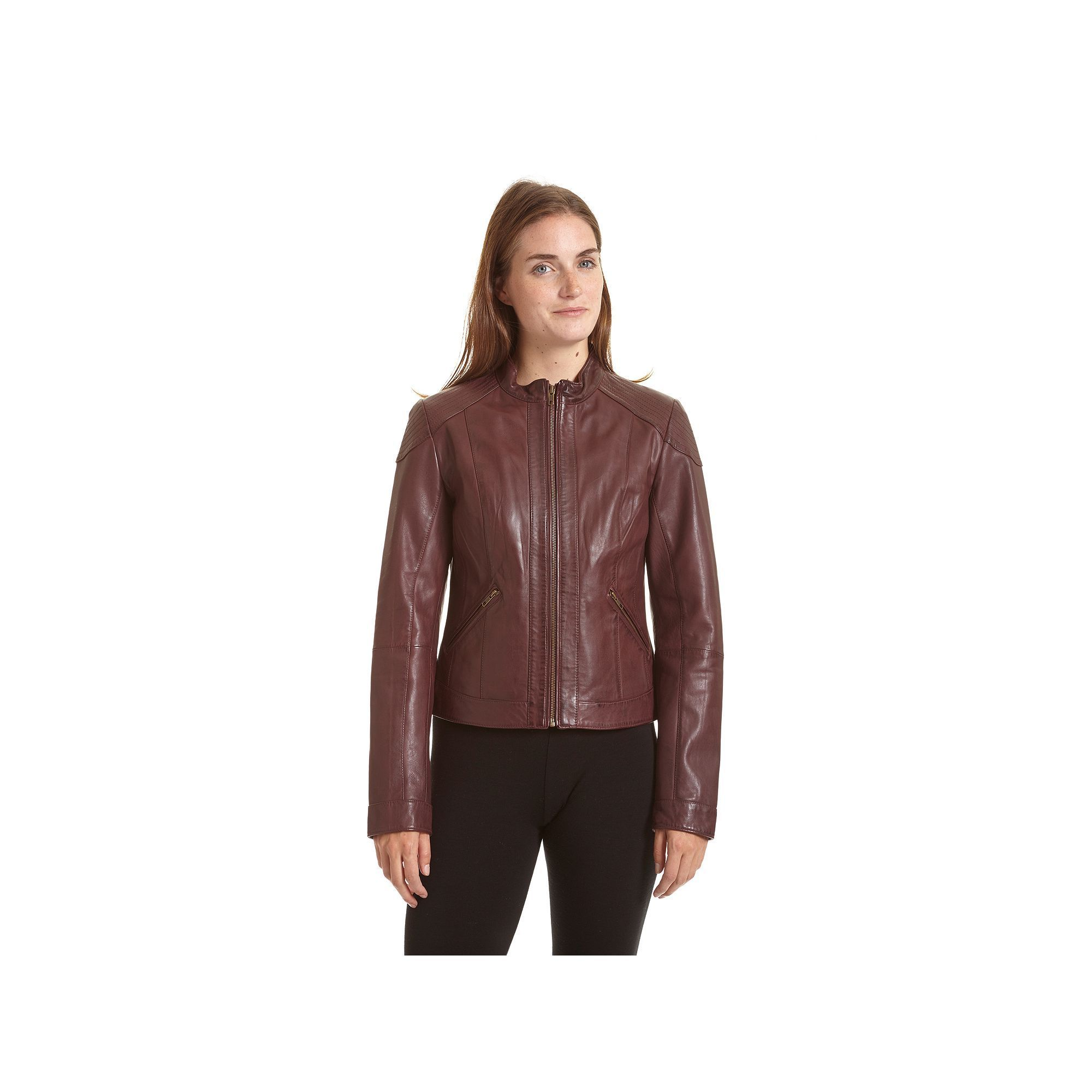 Women's Excelled Leather Motorcycle Jacket, Size: Medium, Purple Oth