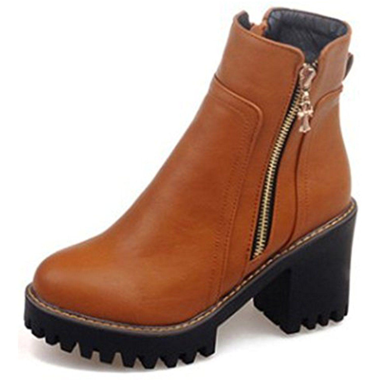 Women's Retro Platform High Chunky Heels Lug Sole Side Zipper Short Ankle Boots