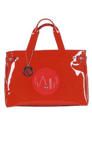 Armani Jeans Large Patent Handbag Damen Tasche Rot Produkte