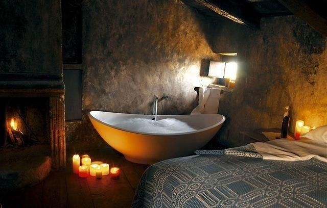 Tub + Fireplace + Bedroom + Candles