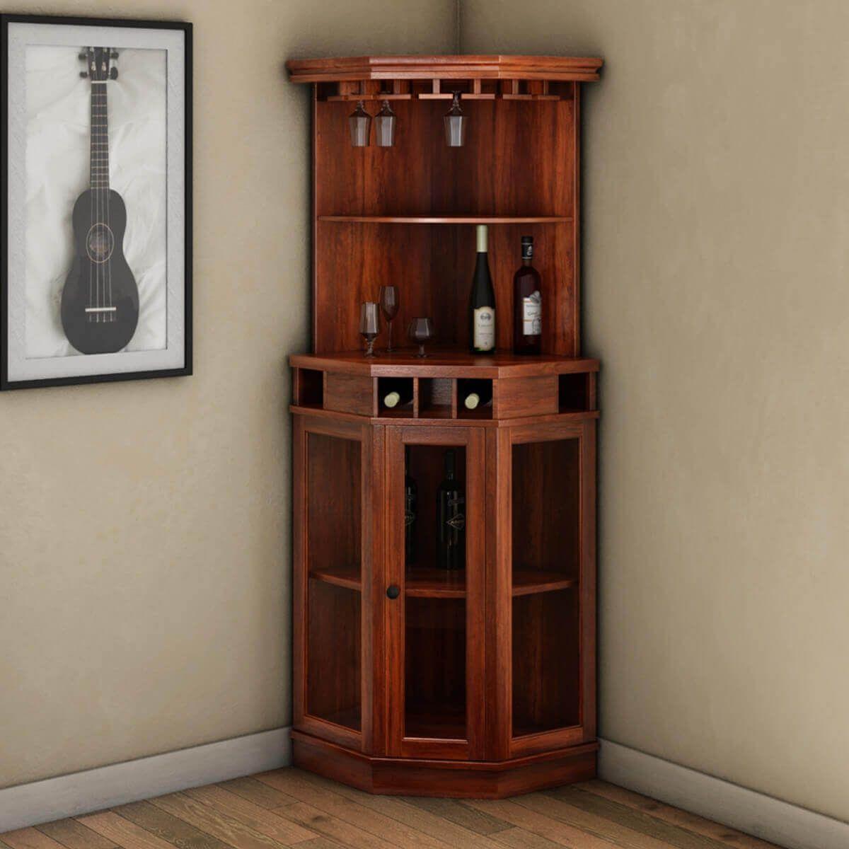Griffin Glass Door Solid Rosewood Corner Wine Bar Cabinet Corner Wine Cabinet Wine Bar Cabinet Corner Liquor Cabinet