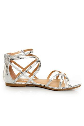 4b4dca23aff Bamboo Firework 92 Silver Snake Strappy Flat Gladiator Sandals at Lulus.com!