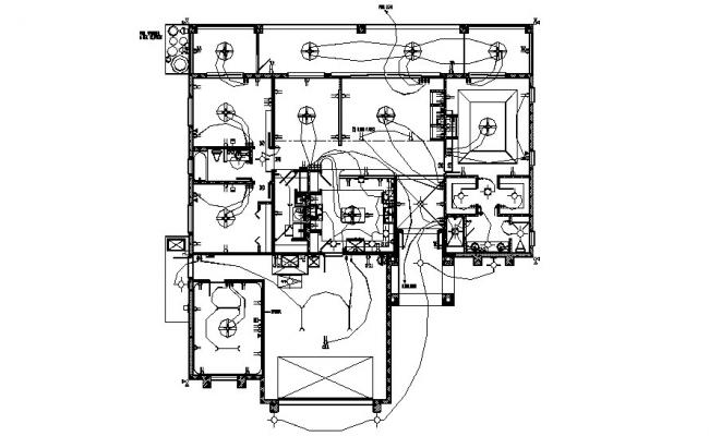 Dwg file of the electric layout plan of residence house