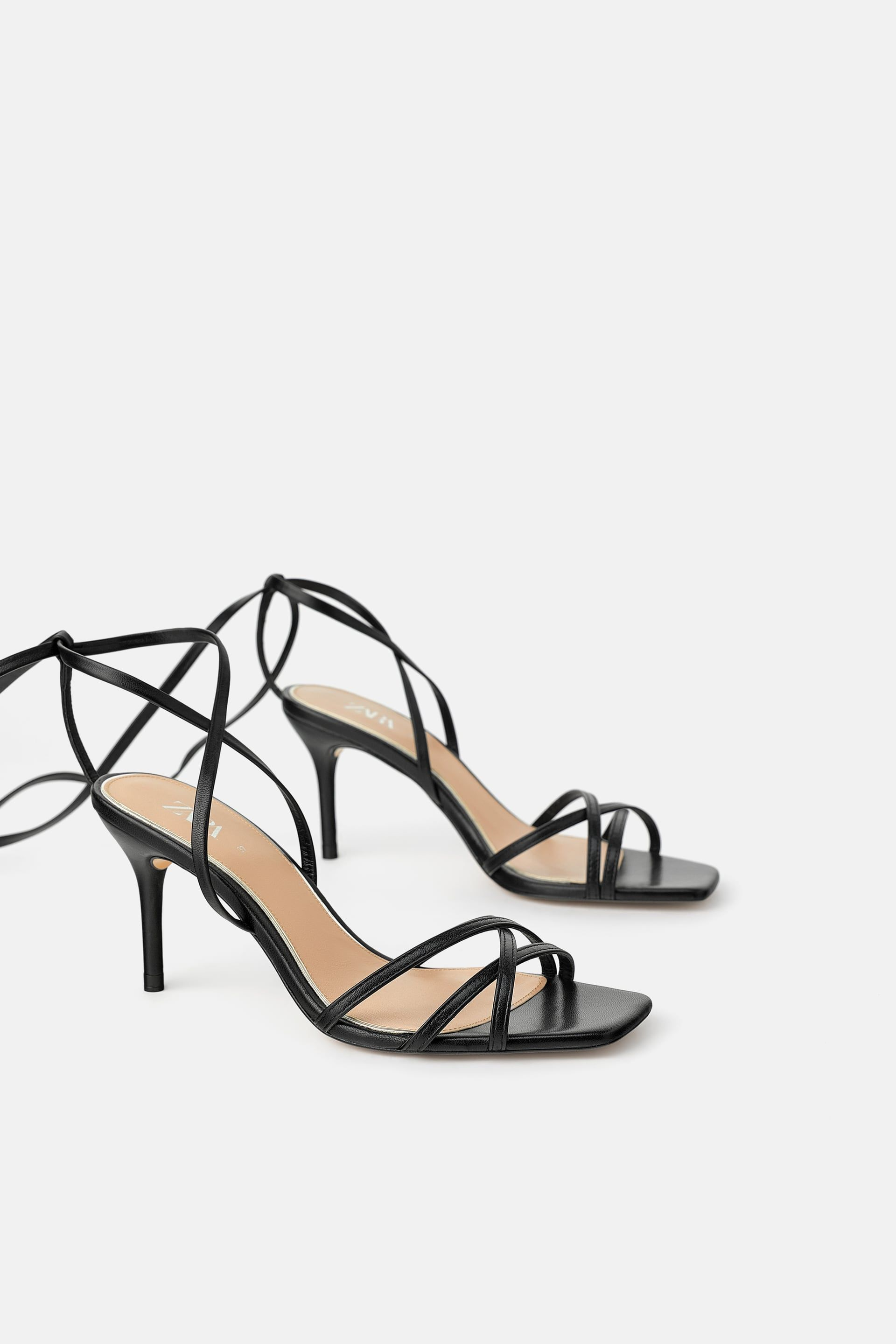 LEATHER HIGH HEELED STRAPPY SANDALS