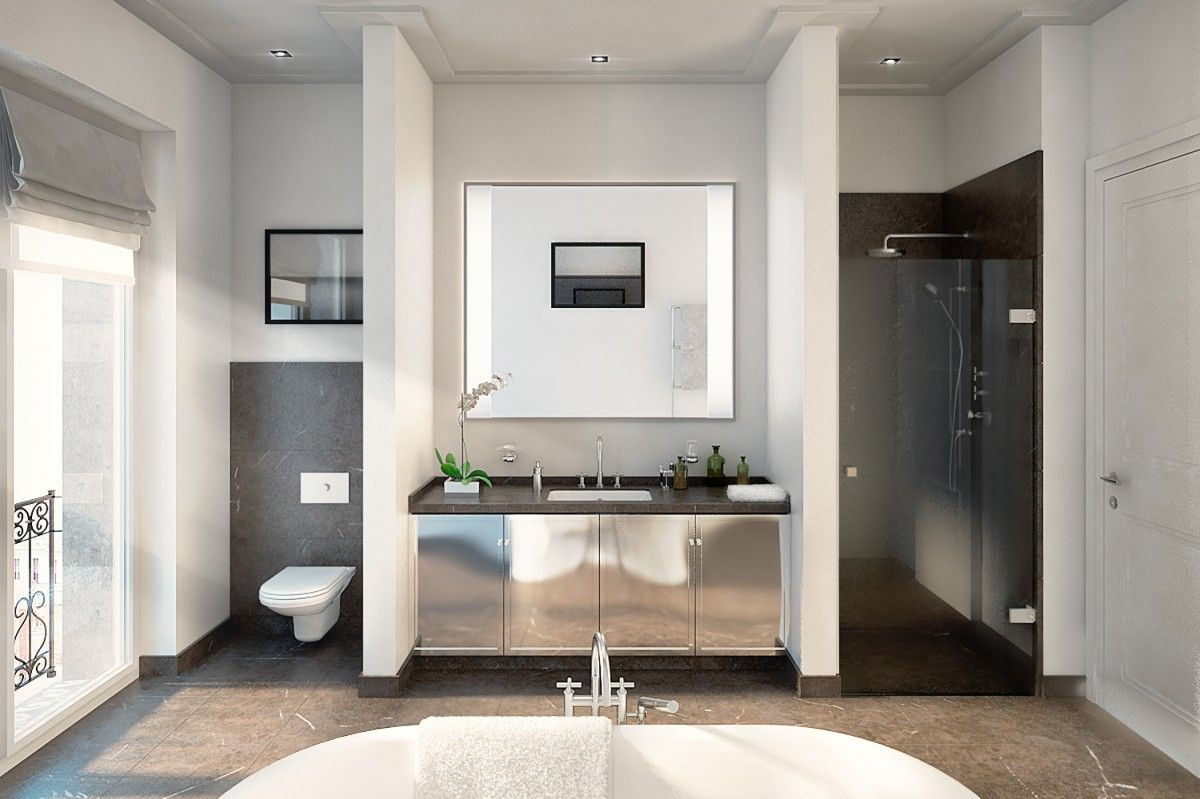 Masterbad: Dunkler Naturstein Kontrastiert Mit Einer Weißen Freistehenden  Badewanne Und Einem Verchromten Waschtischunterschrank   Eisenzahn