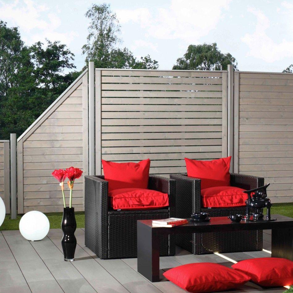 Sichtschutzzaun Holz NEO Grau 179x179cm Rebenhaus