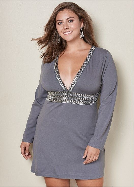 fb598ada5c8ae Venus Women s Plus Size Deep V Trim Cocktail Dress - Grey