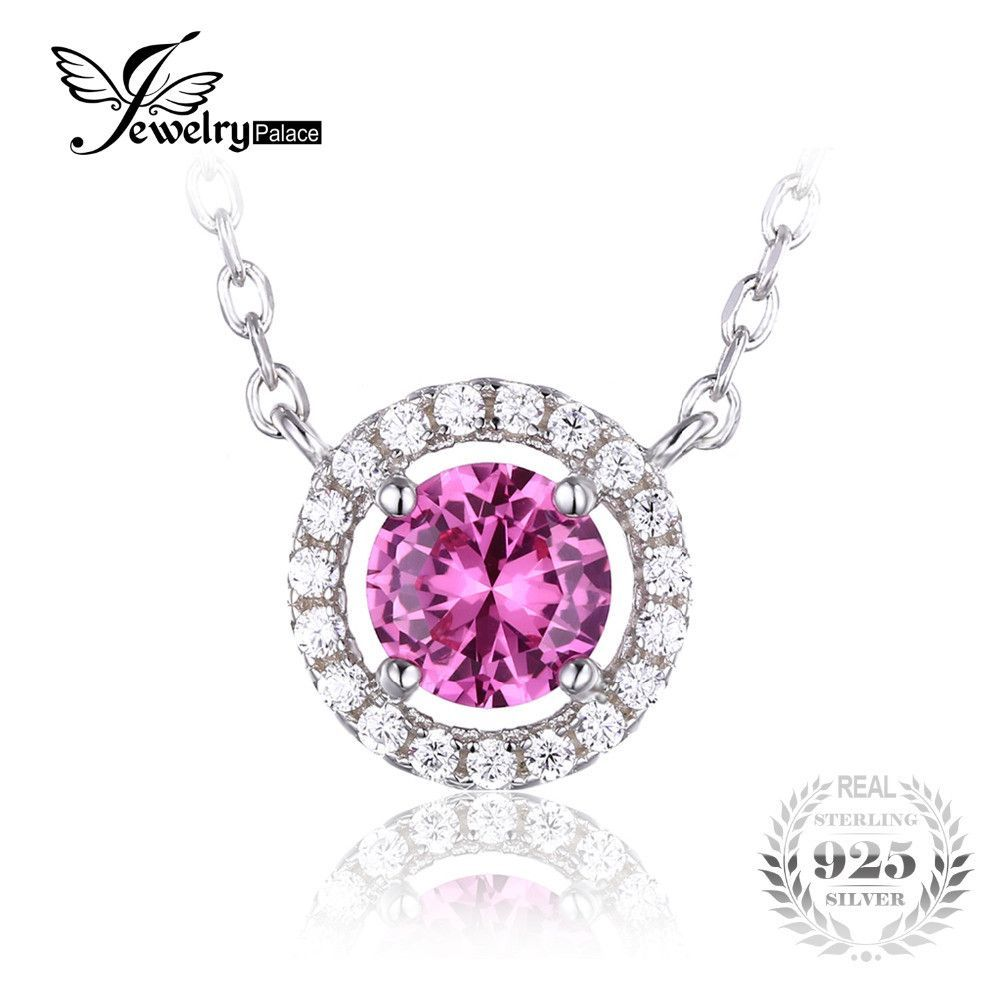JewelryPalace Round 1.2ct Created Pink Sapphire 925 Sterling Silver Solitaire Pendant Necklace 18 Inches Silver Chain For Women
