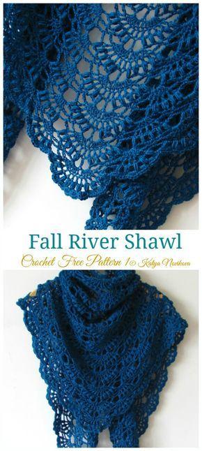 Fall River Shawl Crochet Free Pattern - Lace Shawl #crochetclothes