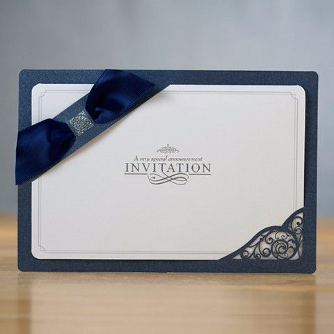 Navy Blue Ribbon Layered Modern Wedding Invitations ItsInvitation - invitaciones de boda elegantes