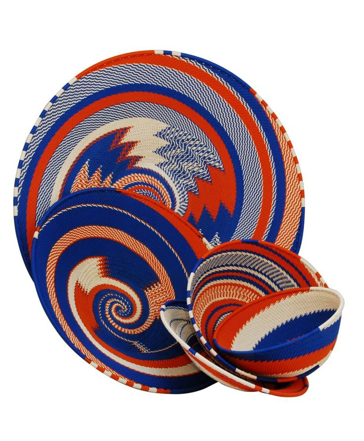 South African Baskets: Telephone Wire Baskets In Red And Blue From South