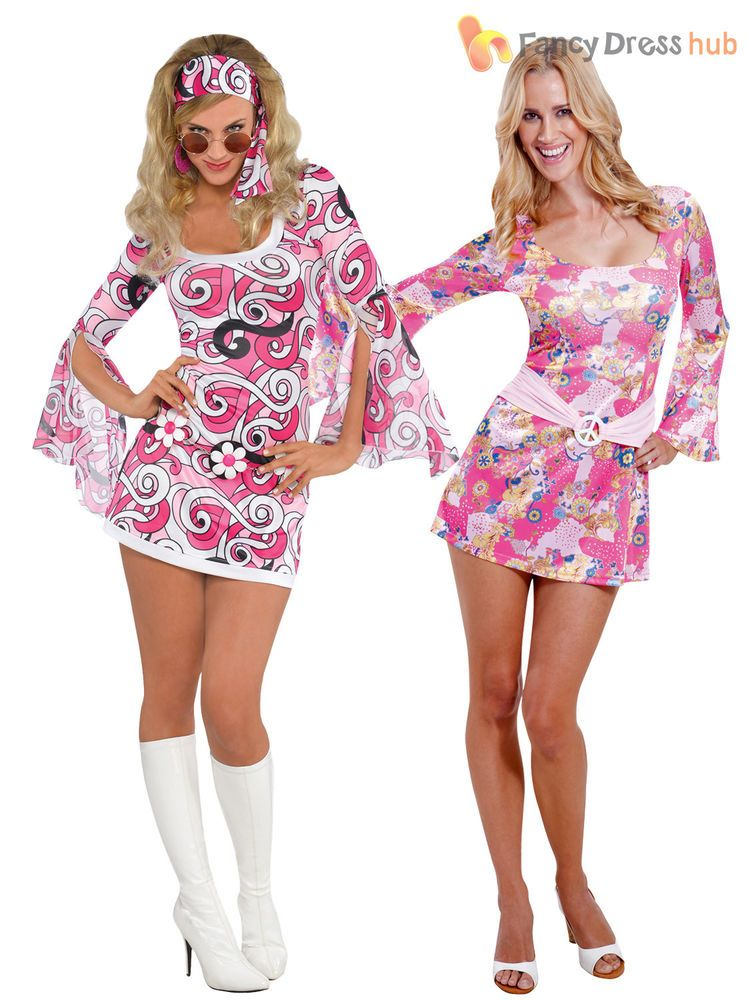 a8b3b7783f6 UK 8-16 60s 70s Hippy Flower Power Hippie Fancy Dress Costume Womens ...