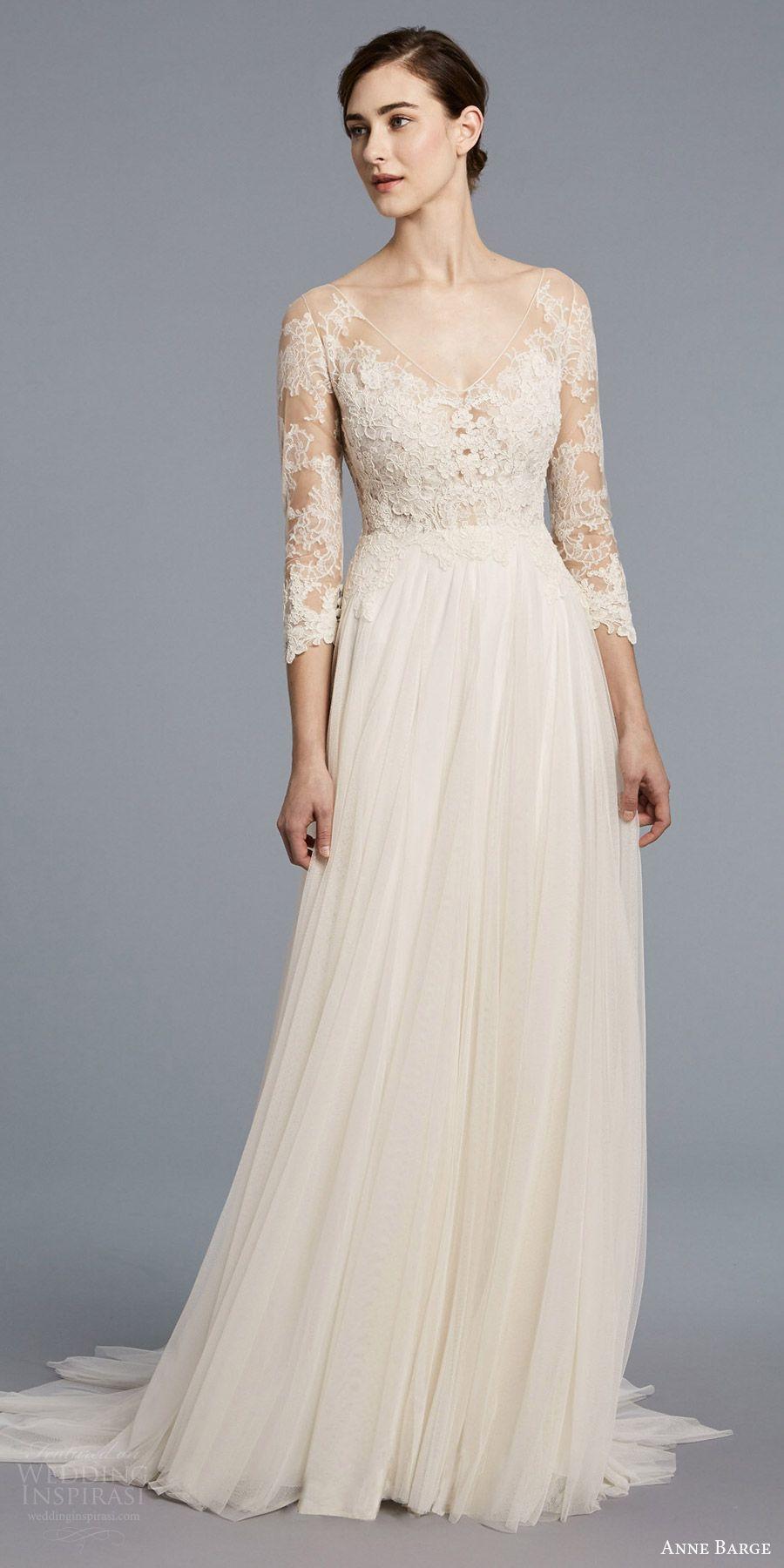 Anne barge spring bridal quarter illusion sleeves v neck lace
