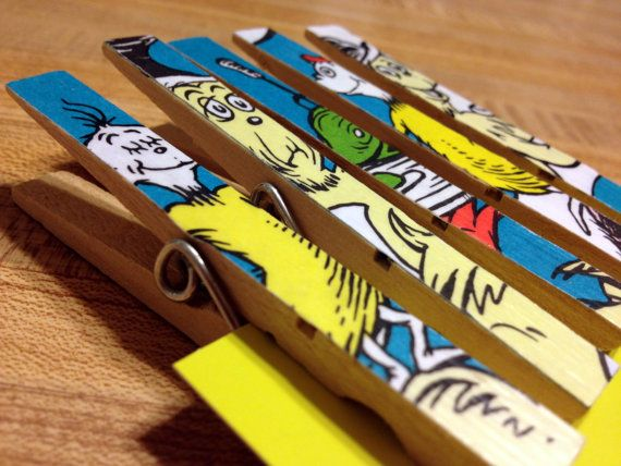 Dr Seuss Cat In The Hat Baby Shower Or Birthday Favor, Stocking Stuffer,  Gift, Decoration   5 Clothespin Clip Magnets