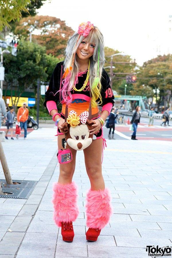 Harajuku Gal W Rainbow Eye Makeup Silver Hair In Anap: Friendly And Colorfully Dressed Japanese Gal. #Shibuya