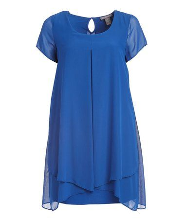 Another great find on #zulily! Royal Amuse Chiffon-Overlay Sidetail Dress - Plus #zulilyfinds