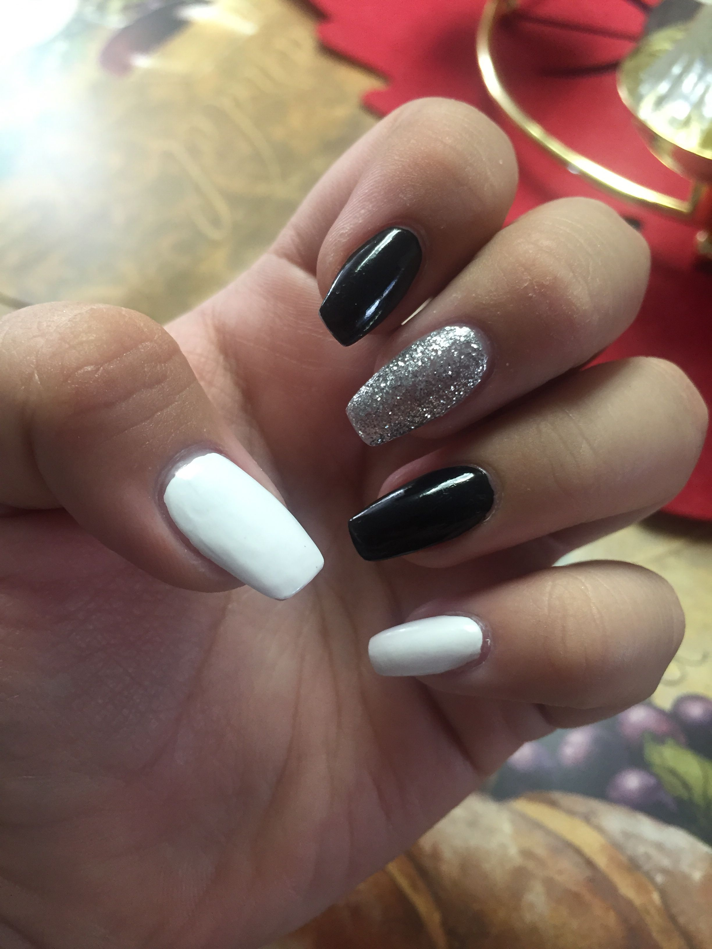 Coffin Nails Black White And Silver White And Silver Nails Silver Nails Black Silver Nails