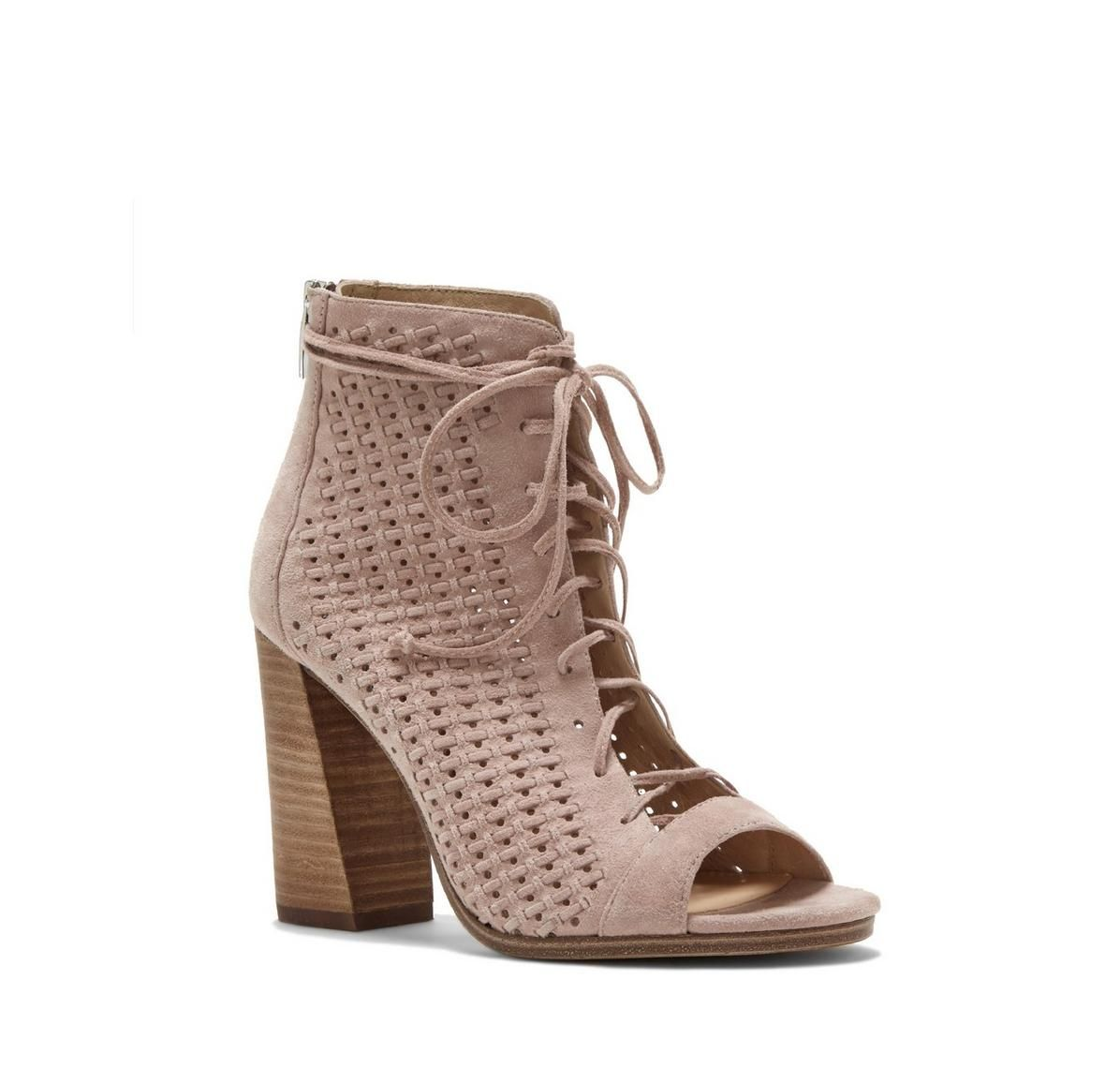 598d3882e7eb Vince Camuto Kevina Flared-heel Lace-up Bootie - Vince Camuto ...