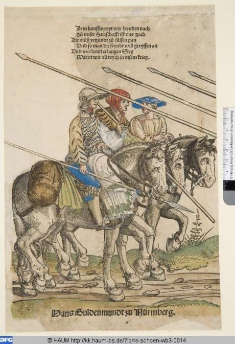Drei berittene Knechte, 1532-42, Erhard Schön      PURL http://kk.haum-bs.de/?id=e-schoen-wb3-0014
