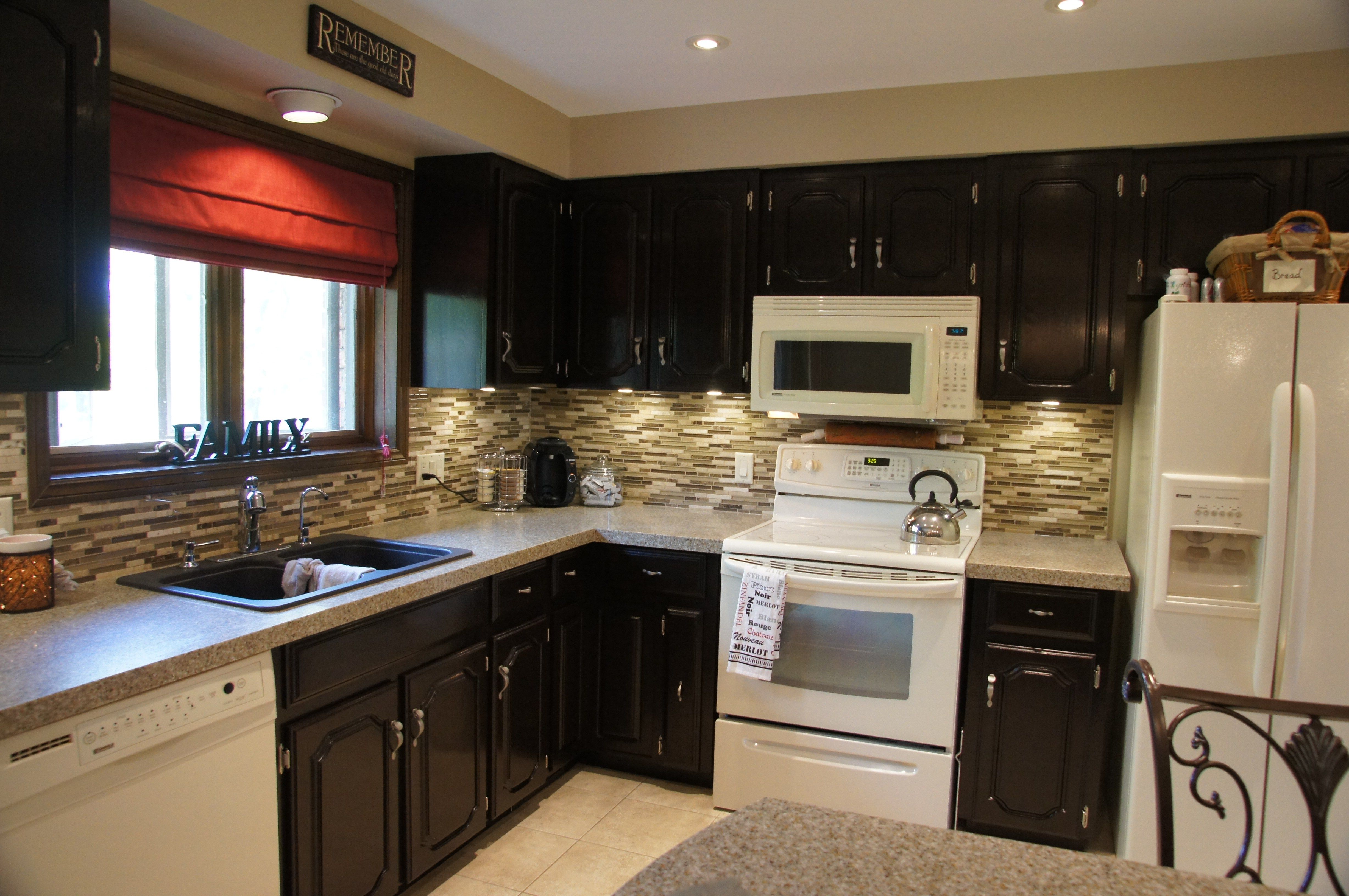 Black Color Staining Oak Kitchen Cabinets White Appliances Staining Oak Kitchen C White Kitchen Appliances Stained Kitchen Cabinets Restaining Kitchen Cabinets