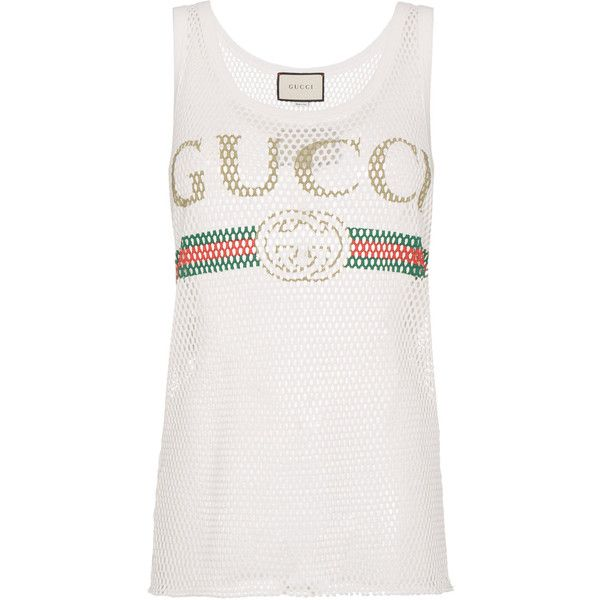 ebf81db36c1cf Gucci Fake Logo Tank Top (6 090 ZAR) ❤ liked on Polyvore featuring tops