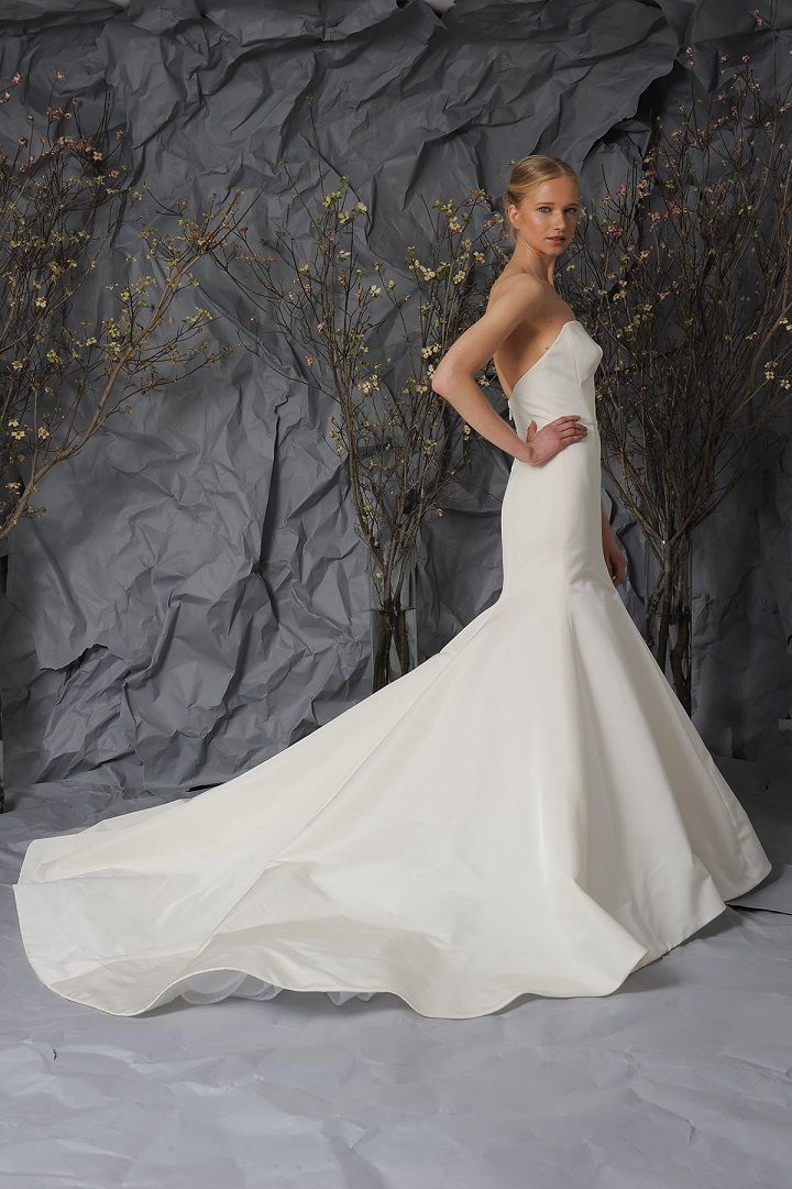 Austin Scarlett Bridal 2017 Wedding Dresses | Fully flared silk gown with plunging neckline | fabmood.com #weddingdress #weddingdresses #bride #weddinggown #ballgown