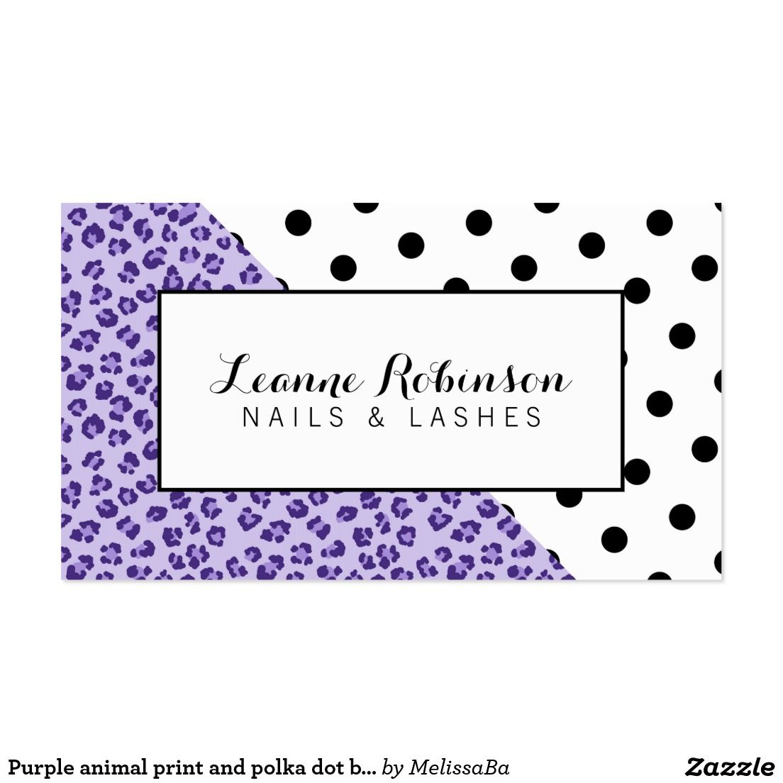 Purple animal print and polka dot business card | Business cards and ...
