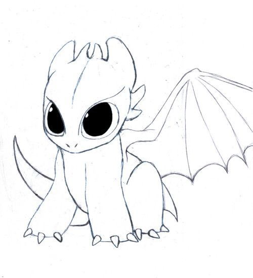 Toothless (baby) | Random and ideas | Drawings, Easy drawings, Easy ...