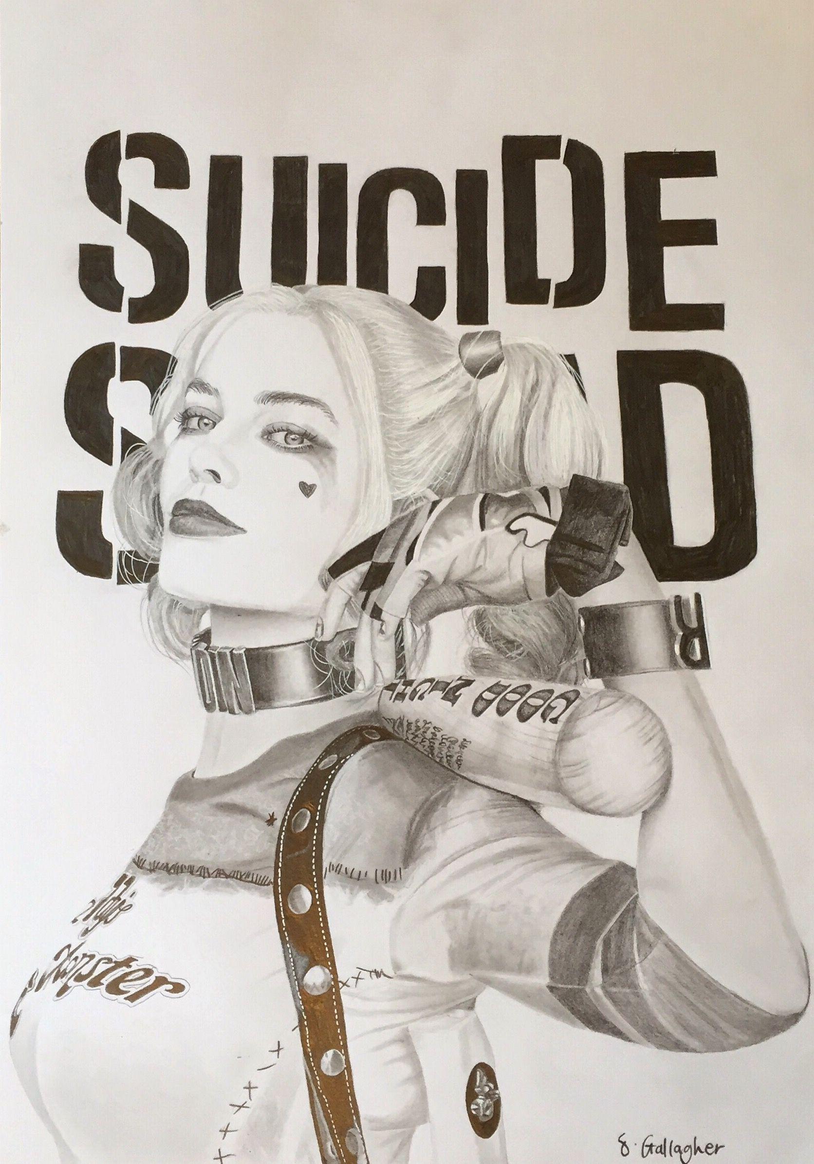 Sianagh Gallagher's drawing of Harley Quinn. Margot Robbie #art