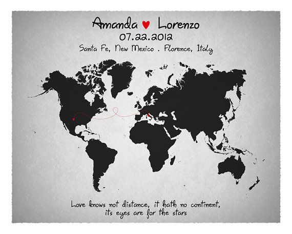 Custom World Map Any States Long Distance Personalized - 8x10 printable world map
