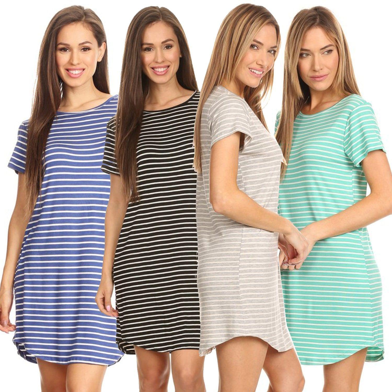 Striped short sleeve tunic tshirt dress products pinterest