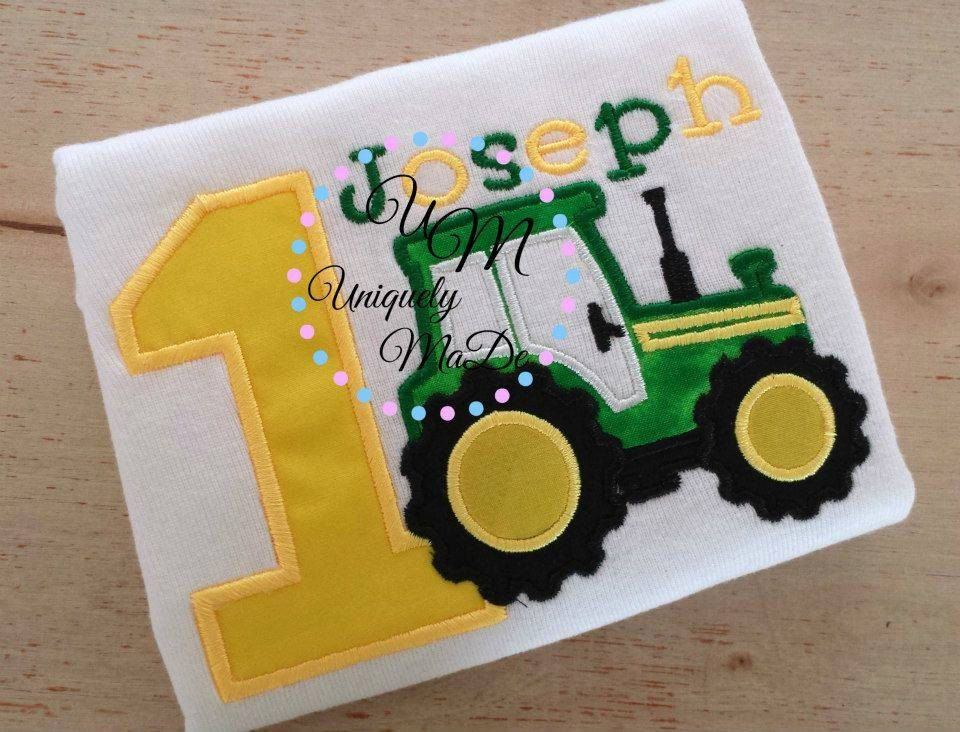 Tractor Birthday Shirt, Tractor Shirt, Tractor Birthday Applique Shirt, Birthday Tractor Shirt, Number Shirt, Persoanlized Tractor Shirt - pinned by pin4etsy.com