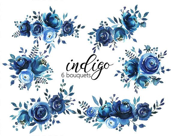 Indigo Watercolor Floral Design Collection Digital Clipart Png