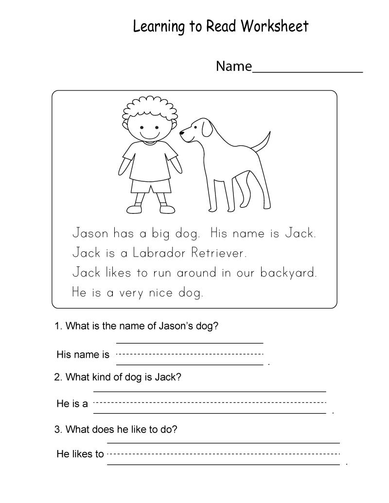 Kids Learning Sheets Reading   K5 Worksheets   Kids Worksheets ...