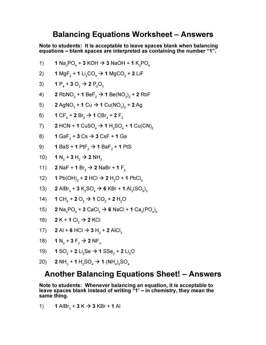 Download Balancing Equations 34 Balancing Equations Chemical Equation Equations