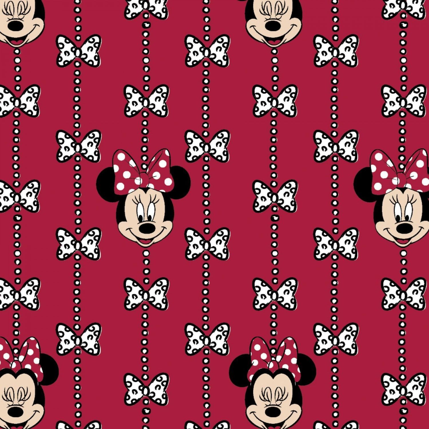 Red flannel fabric  Disney Minnie Mouse Bow Stripe Flanne Red  cotton flannel fabric